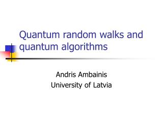 Quantum random walks and quantum algorithms