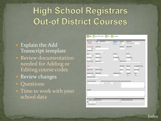 High School Registrars Out-of District Courses