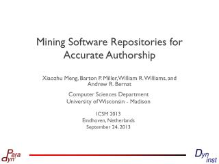 Mining Software Repositories for Accurate Authorship