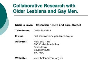 Collaborative Research with Older Lesbians and Gay Men.