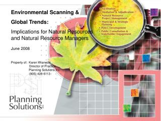 Environmental Scanning &  Global Trends: