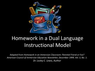Homework in a Dual Language Instructional Model
