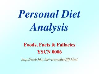 Personal Diet Analysis