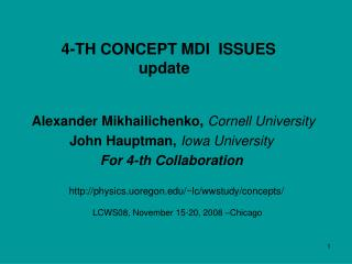 4-TH CONCEPT MDI  ISSUES update