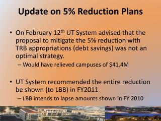 Update on 5% Reduction Plans