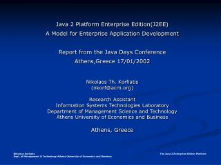 Java 2 Platform Enterprise Edition(J2EE) A Model for Enterprise Application Development