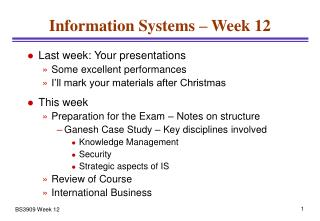 Information Systems – Week 12