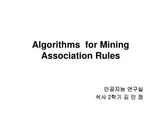 Algorithms  for Mining Association Rules