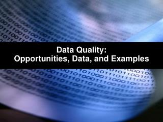 Data Quality: Opportunities, Data, and Examples