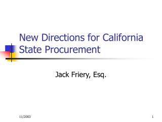 New Directions for California State Procurement