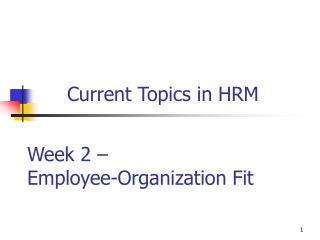 Current Topics in HRM