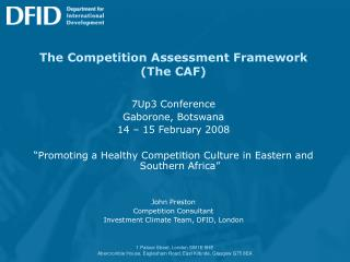 The Competition Assessment Framework (The CAF)
