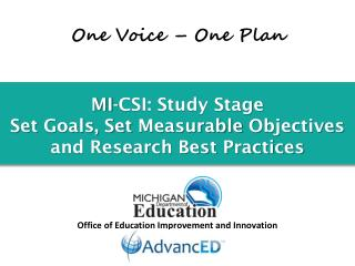 MI-CSI: Study Stage Set  Goals, Set  Measurable  Objectives and Research Best Practices
