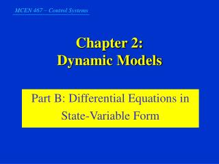 Chapter 2:  Dynamic Models