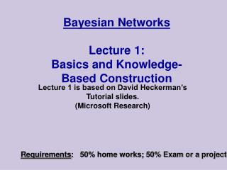 Bayesian Networks  Lecture 1: Basics and Knowledge-Based Construction