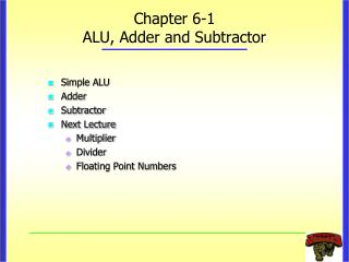 Chapter 6-1 ALU, Adder and Subtractor