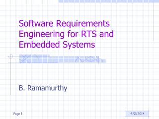 Software Requirements Engineering for RTS and Embedded Systems
