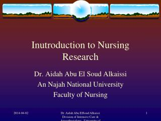 Inutroduction to Nursing Research