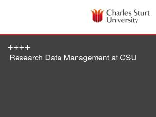 Research Data Management at CSU