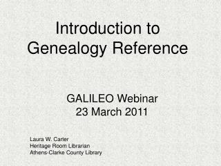 Introduction to Genealogy Reference