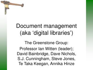 Document management  (aka 'digital libraries')
