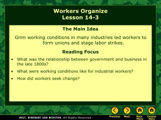 Workers Organize Lesson 14-3