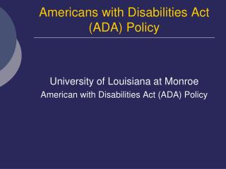 Americans with Disabilities Act (ADA) Policy
