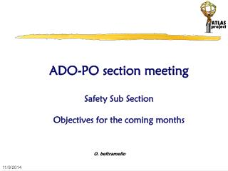 ADO-PO section meeting Safety Sub Section  Objectives for the coming months