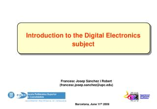 Introduction to the Digital Electronics subject