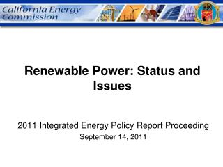 Renewable Power: Status and Issues