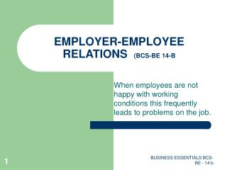 EMPLOYER-EMPLOYEE RELATIONS   (BCS-BE 14-B