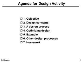 Agenda for Design Activity