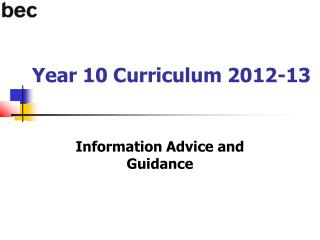 Year 10 Curriculum 2012-13