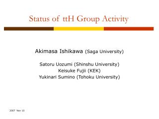 Status of ttH Group Activity