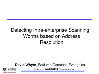 Detecting Intra-enterprise Scanning Worms based on Address Resolution