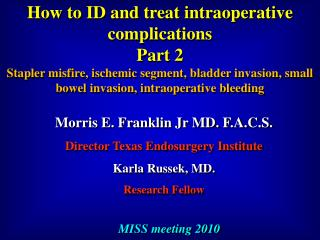 How to ID and treat  intraoperative  complications Part 2