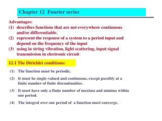 12.1 The Dirichlet conditions: