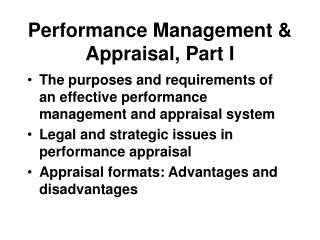 Performance Management & Appraisal, Part I