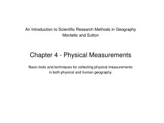 An Introduction to Scientific Research Methods in Geography Montello and Sutton