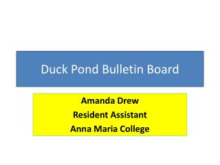 Duck Pond Bulletin Board