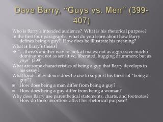 "Dave Barry, ""Guys vs. Men"" (399-407)"