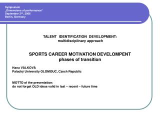 Sports Career Motivation Development - Phases of Transition ...