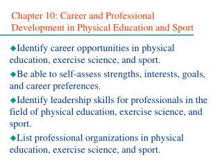 Chapter 10: Career and Professional Development in Physical Education and Sport