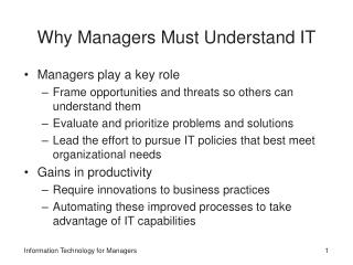 Why Managers Must Understand IT