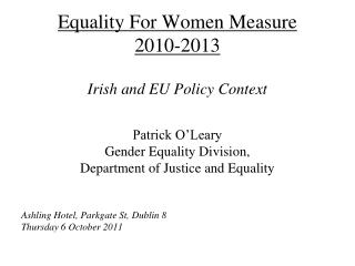 Equality For Women Measure  2010-2013