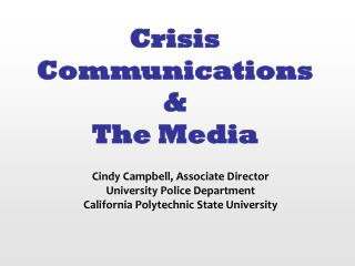 Crisis Communications & The Media