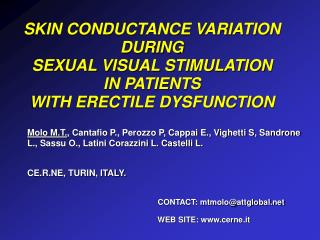SKIN CONDUCTANCE VARIATION DURING  SEXUAL VISUAL STIMULATION IN PATIENTS