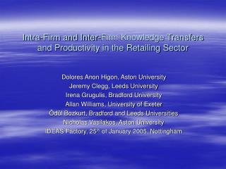 Intra-Firm and Inter-Firm Knowledge Transfers and Productivity in the Retailing Sector
