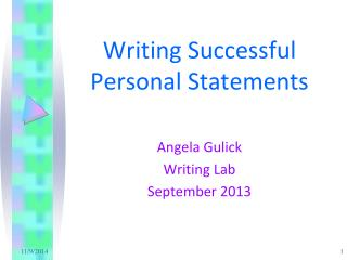 Writing Successful  Personal Statements