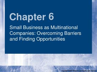 Small Business as Multinational Companies: Overcoming Barriers and Finding Opportunities